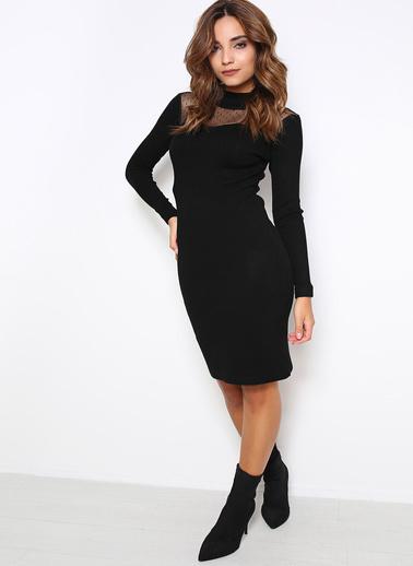 Sense Transparan Dekolte Detaylı Triko Elbise Siyah